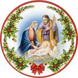 """Copertina di 'Piatto natalizio effetto ceramica """"Natività"""" con angelo in preghiera - diametro 13 cm'"""