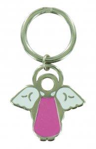 Copertina di 'Portachiavi a forma di angioletto con smalto rosa - 4 cm'