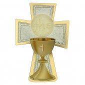 """Croce sagomata con lamina oro """"Prima Comunione"""" - altezza 14 cm"""