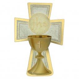 """Copertina di 'Croce sagomata con lamina oro """"Prima Comunione"""" - altezza 14 cm'"""