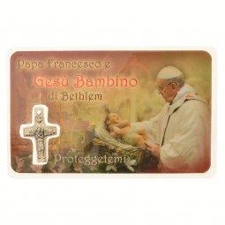"Copertina di 'Card medaglia ""Papa Francesco e Gesù Bambino"" (10 pezzi)'"