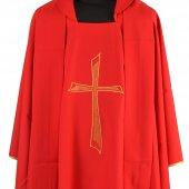 Immagine di 'Casula rossa economica con croce stilizzata'