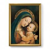 """Quadro """"Madonna del Buon Consiglio"""" con lamina oro e cornice dorata"""