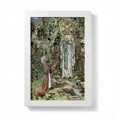 """Immagine di 'Quadretto """"Madonna di Lourdes"""" con lamina oro e cornice minimal - dimensioni 15x10 cm'"""