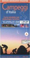 Campeggi d'Italia. Carta stradale con simbologia turistica. 1:800.000