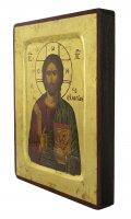 Immagine di 'Icona Cristo Pantocratore con libro chiuso, produzione greca su legno - 18 x 14 cm'
