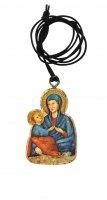 Ciondolo Madonna del Divino Amore in legno d'ulivo con immagine serigrafata