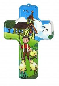 Copertina di 'Crocifisso per cameretta bambini modello Buon Pastore - 12 x 18 cm'