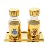 Coppia bottiglie dorate 30 cc con vassoio dorato
