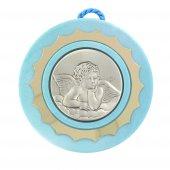 Sopraculla tondo di colore azzurro con angioletto in argento - diametro 9 cm