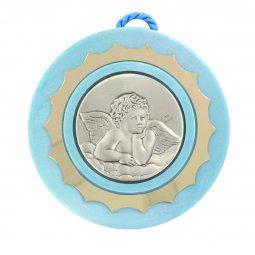 Copertina di 'Sopraculla tondo di colore azzurro con angioletto in argento - diametro 9 cm'