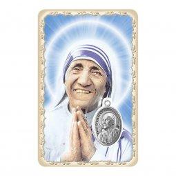 """Copertina di 'Card """"Madre Teresa"""" multilingue con frase e medaglia - (10 pezzi)'"""