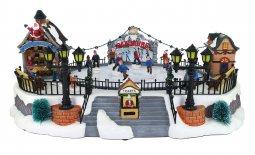 Copertina di 'Villaggio natalizio con pista di pattinaggio, movimento, luci, musica (39 x 18,5 x 28 cm)'