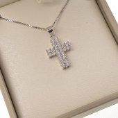 Collana con croce latina in strass e catenina in argento 925
