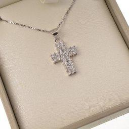 Copertina di 'Collana con croce latina in strass e catenina in argento 925'