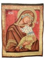 """Arazzo """"Madonna-Madre di Dio-della Tenerezza"""" (70cm x 90cm) - Novgorod (XV sec)"""