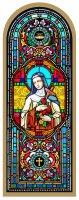 Tavola Santa Teresa stampa tipo vetrata su legno - 10 x 27 cm