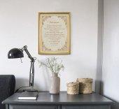 """Immagine di 'Quadro con preghiera """"Tutto comincia"""" su cornice dorata - dimensioni 44x34 cm'"""