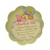 """Quadretto verde con nuvola """"Angelo di Dio"""" - dimensioni 17x17 cm"""