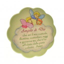 """Copertina di 'Quadretto verde con nuvola """"Angelo di Dio"""" - dimensioni 17x17 cm'"""