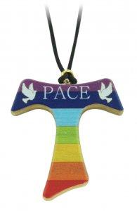 Copertina di 'Croce Tau in legno di ulivo dipinta con i colori arcobaleno e con laccio - 4 cm'