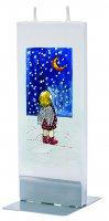 Candela natalizia in cera bianca con angelo 15 x 6 cm