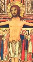 Immagine di 'Crocifisso San Damiano da parete stampa su legno bordo oro - 20 x 27 cm'