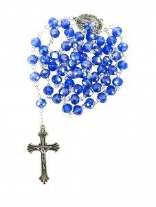 Copertina di 'Rosario con grani in cristallo sfaccettato da Ø 6 mm e legatura in metallo - colore blu'