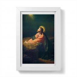 """Copertina di 'Quadretto """"Gesù nell'orto"""" con passe-partout e cornice minimal - dimensioni 15x10 cm'"""