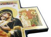Immagine di 'Croce icona Madonna Tenerezza stampa su legno - 15 x 15 cm'