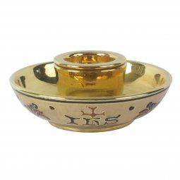 Copertina di 'Pisside in ceramica dorata con cristogramma IHS - diametro 18 cm'
