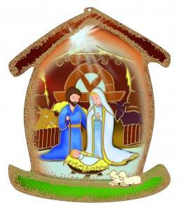 Copertina di 'Casetta in legno da appendere con Nativit�'
