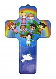 Copertina di 'Crocifisso per cameretta bambini modello Pace nel mondo - 12 x 18 cm'