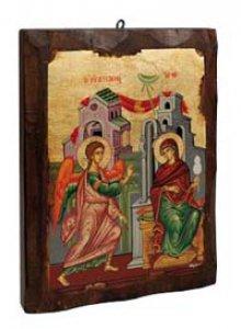 """Copertina di 'Icona in legno """"Annunciazione"""" - dimensioni 28x21 cm'"""