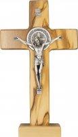 Croce di San Benedetto da tavolo in legno d'ulivo e metallo - altezza 18 cm
