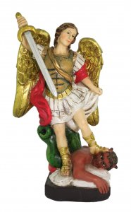 Copertina di 'Statua di San Michele Arcangelo da 12 cm in confezione regalo con segnalibro in IT/EN/ES/FR'