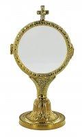 Ostensorio Ostia in fusione ottone dorato - Ø 9 x 18 cm