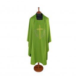 Copertina di 'Casula verde con croce stilizzata e ramoscelli d'ulivo ricamati'