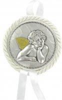 Sopraculla in pelle con medaglia in metallo raffigurante un angelo cherubino (bianco) Ø 7 cm