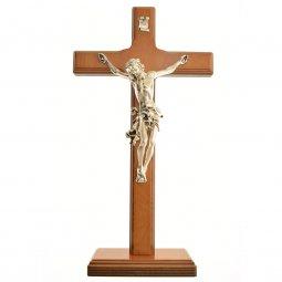 Copertina di 'Croce in legno con base color ciliegio - dimensioni 33x17,5 cm'