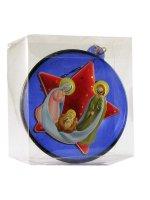 Immagine di 'Sfera blu con Sacra Famiglia e stella rossa'