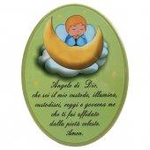 """Icona ovale verde """"Angelo di Dio"""" per bambini - dimensioni 15x21 cm"""