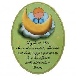 """Copertina di 'Icona ovale verde """"Angelo di Dio"""" per bambini - dimensioni 15x21 cm'"""