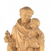 """Immagine di 'Statua sacra in legno di tiglio patinato """"Sant'Antonio di Padova"""" - altezza 80 cm'"""
