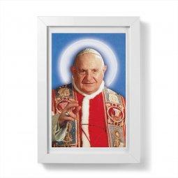 """Copertina di 'Quadretto """"Papa Giovanni XXIII"""" con passe-partout e cornice minimal - dimensioni 15x10 cm'"""