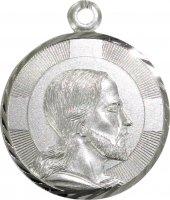 Medaglia tonda in argento con Volto di Cristo di profilo - cm 2,5 di  su LibreriadelSanto.it