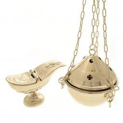 Copertina di 'Turibolo e navicella nichelati con decoro a croci - altezza 14 cm'