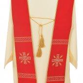 Immagine di 'Stola rossa con cordoniera e ricamo a croce greca'