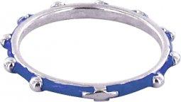 Copertina di 'Fedina rosario argento smaltata blu mm 18'