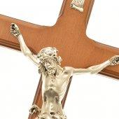 Immagine di 'Croce in legno con base color ciliegio - dimensioni 33x17,5 cm'